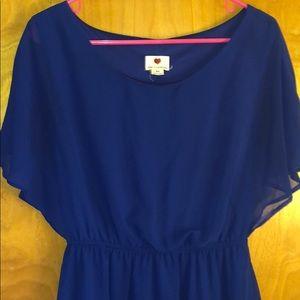 Blue lined - sheer sleeve dress- sz M